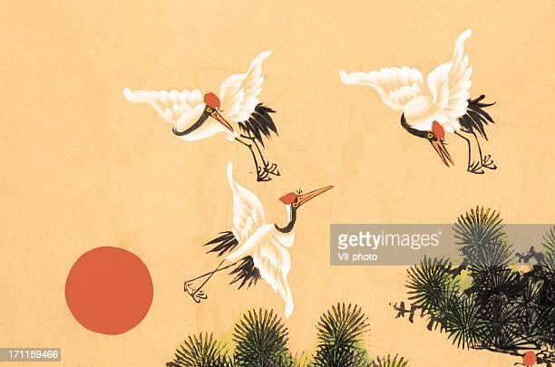 crane - japanese culture stock illustrations