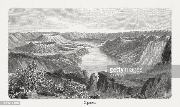 crater lakes in the azores (lagoa das sete cidades), 1897 - volcanic crater stock illustrations, clip art, cartoons, & icons