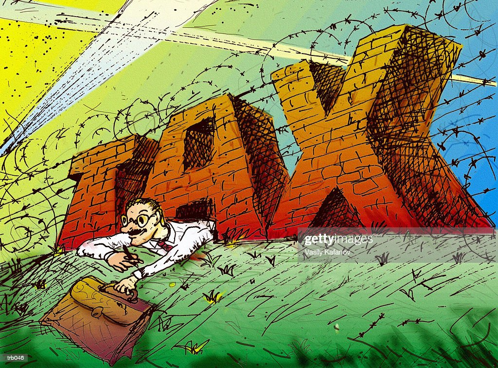 Crawling Through Tax Fence Hole : Stock Illustration