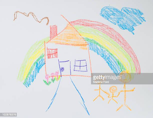 Crayon drawing of family and home with rainbow