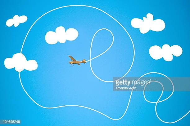 crazy airplane - vapor trail stock illustrations, clip art, cartoons, & icons
