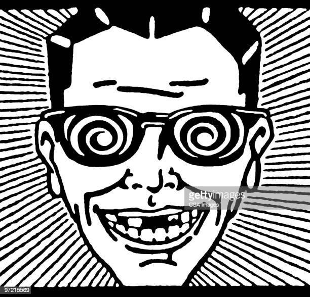crazy glasses - hypnosis stock illustrations