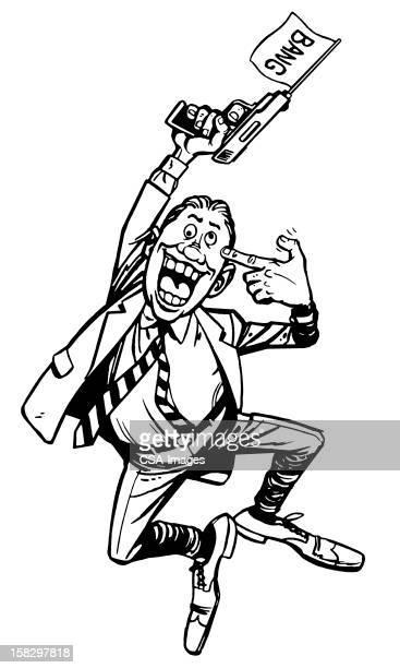 Crazy Man Jumping and Shooting Gun