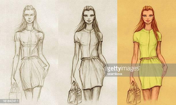 ilustraciones, imágenes clip art, dibujos animados e iconos de stock de crear la moda (etapa 1, 2, 3 - modelo de modas