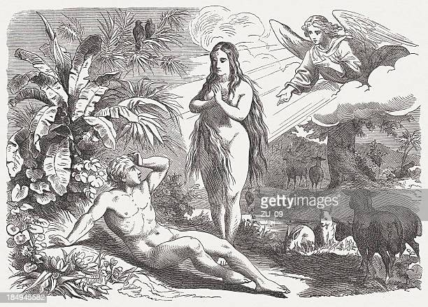 Creation of Eve (Genesis 2, 21-25), wood engraving, published 1877