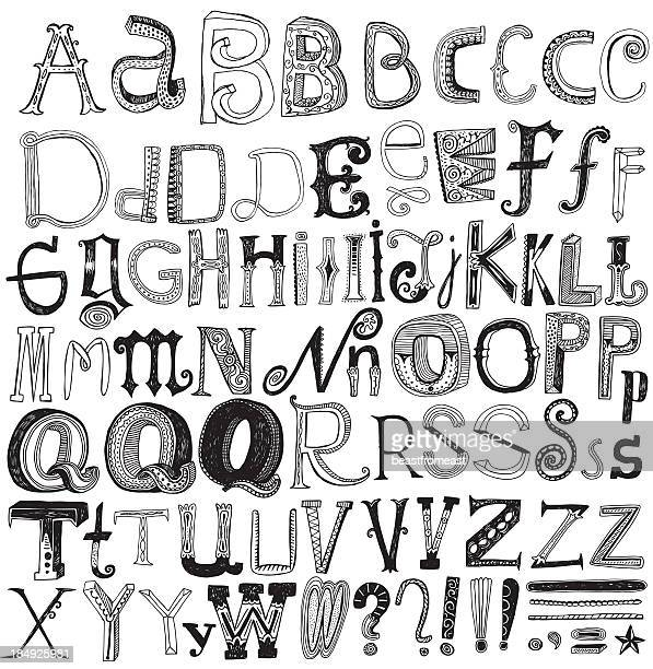 Creative hand drawn alphabet isolated on white