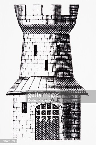 Crenelated Castle Tower With Portcullis Line Drawing High