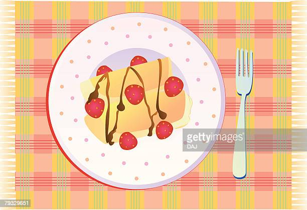Crepe with fruits, close-up, illustration