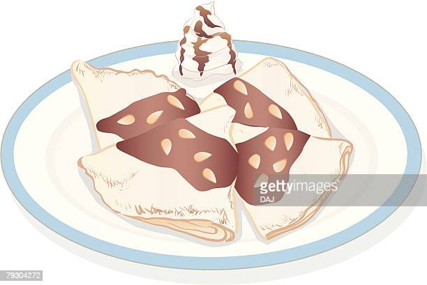 ilustrações, clipart, desenhos animados e ícones de crepes with chocolate sauce and cream - molho de chocolate