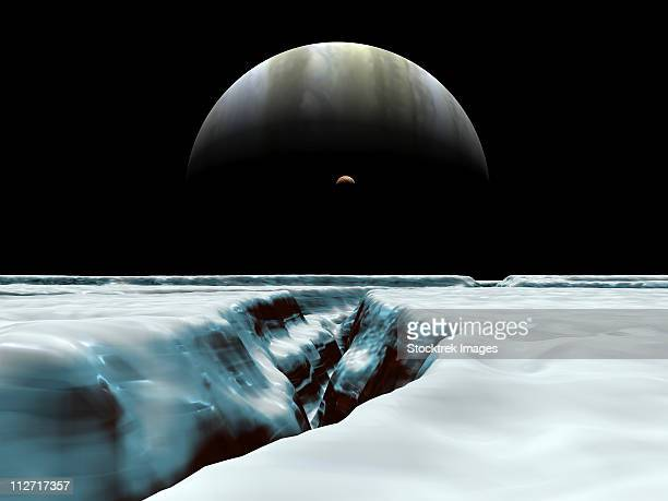 a crescent jupiter and volcanic satellite, io, hover over the horizon of the icy moon of europa. - エウロパ点のイラスト素材/クリップアート素材/マンガ素材/アイコン素材