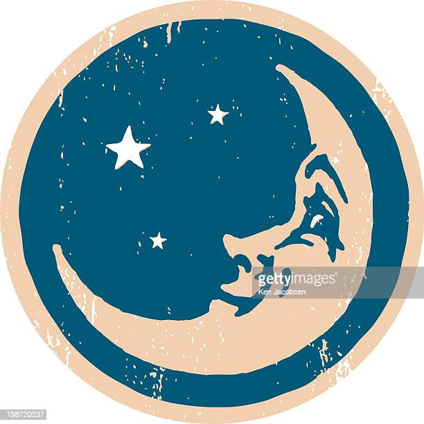 crescent shaped moon with a face - man in the moon stock illustrations, clip art, cartoons, & icons