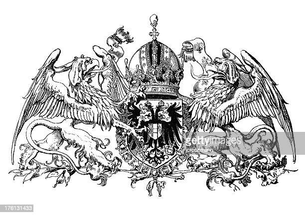 crest of his majesty - griffin stock illustrations, clip art, cartoons, & icons