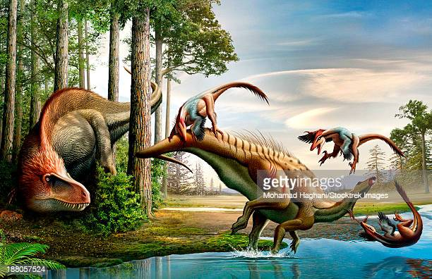 A Cretaceous Acrocanthosaurus observing a Tenontosaurus being attacked by a group of Deinonychus.