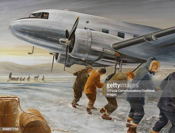 crew hand starting the port engine of the dc-3 bluebonnet belle. - us air force stock illustrations, clip art, cartoons, & icons