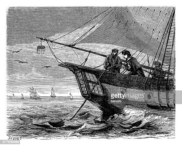 Crew men on cable ship releasing telegraph cable