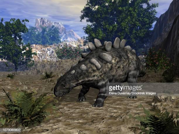 crichtonsaurus dinosaur grazing on a fern plant. - scute stock illustrations, clip art, cartoons, & icons