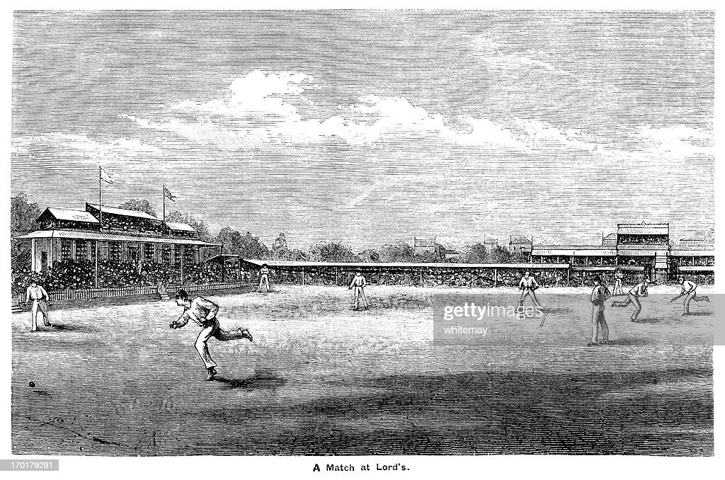 Cricket at Lord's c1855 : Stock Illustration