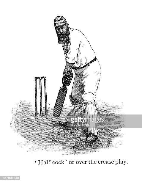cricket - batsman - w. g. grace stock illustrations
