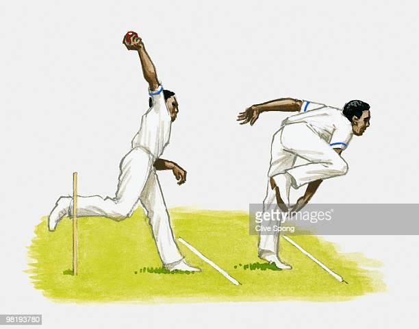 Cricket bowling technique, multiple image