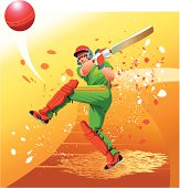 Cricket Player Strikes the Ball for Six