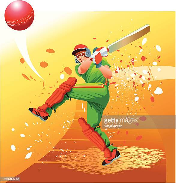 cricket player strikes the ball for six - cricket stock illustrations