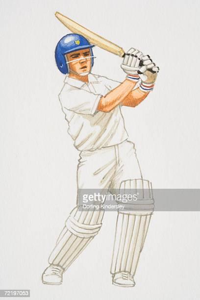 Cricket player swinging his bat.