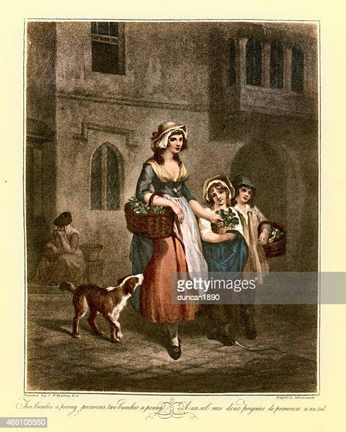Cries of London - Selling Flowers on the Street 1790