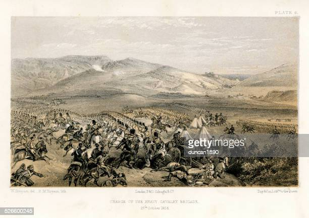 crimean war -  charge of the heavy brigade - battlefield stock illustrations, clip art, cartoons, & icons