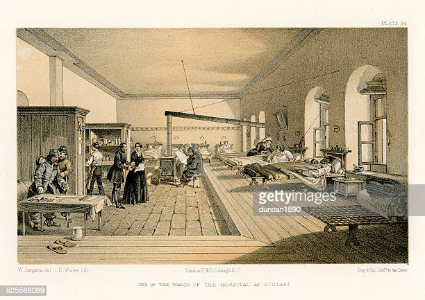 crimean war -  florence nightingale's hospital at scutari - florence nightingale stock illustrations