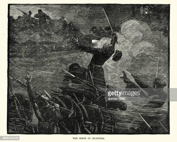 stockillustraties, clipart, cartoons en iconen met krimoorlog, belegering van silistra - ottomane