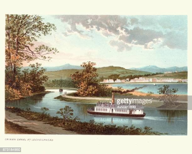 crinan canal at lochgilphead, argyll and bute, scotland, 19th century - landscape stock illustrations, clip art, cartoons, & icons