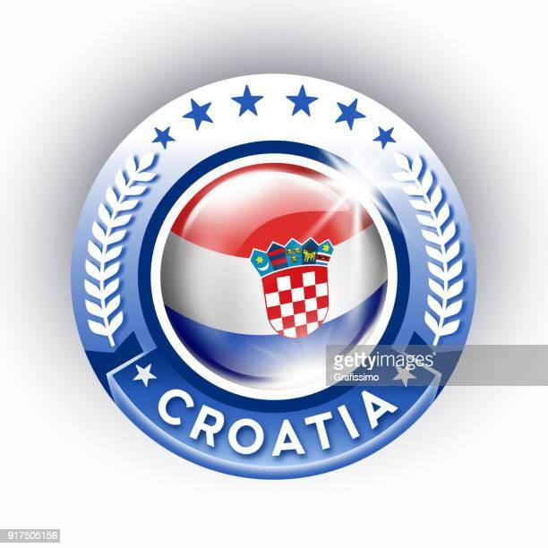 croatia button with croatian flag isolated on white - croatian flag stock illustrations, clip art, cartoons, & icons