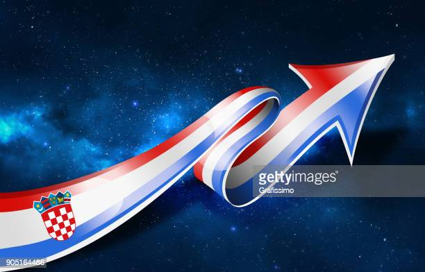 croatia flag with arrow upwards - croatian flag stock illustrations, clip art, cartoons, & icons