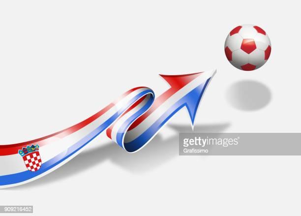 croatia flag with arrow upwards soccer ball - croatian flag stock illustrations, clip art, cartoons, & icons