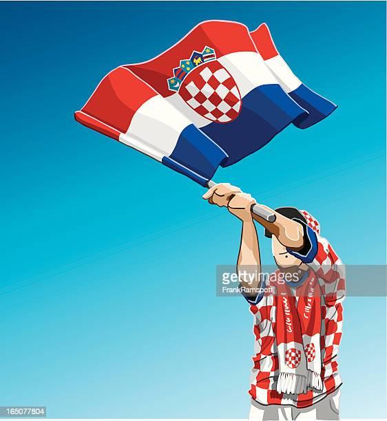 croatia waving flag soccer fan - croatian flag stock illustrations, clip art, cartoons, & icons