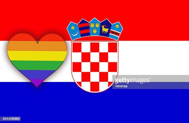 croatian and lgbt flag - croatian flag stock illustrations, clip art, cartoons, & icons