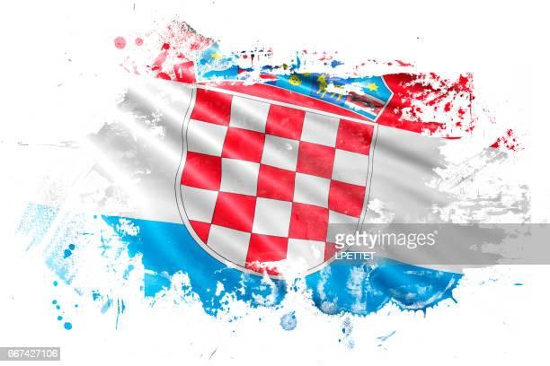 croatian ink grunge flag - croatian flag stock illustrations, clip art, cartoons, & icons