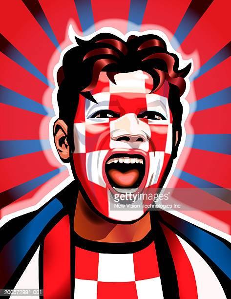 croatian sports fan cheering - croatian flag stock illustrations, clip art, cartoons, & icons