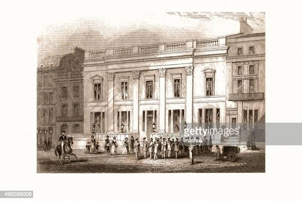 crockford club house, london 19 century - politics and government stock illustrations, clip art, cartoons, & icons