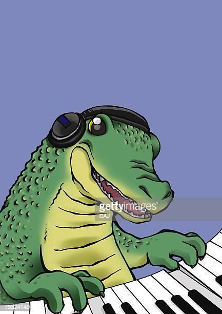 ilustrações, clipart, desenhos animados e ícones de crocodile playing piano, front view, blue background - organismo aquático