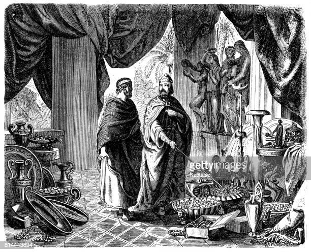 croesus shows solon his treasures - king royal person stock illustrations, clip art, cartoons, & icons