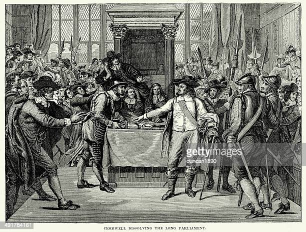 cromwell dissolving the long parliament - 17th century stock illustrations, clip art, cartoons, & icons