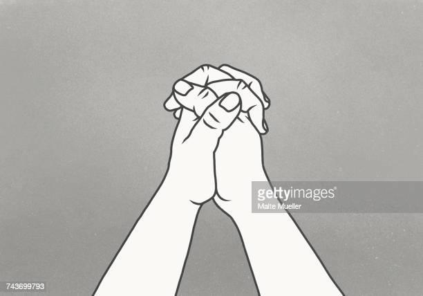 cropped image of clasped hands against gray background - hände verschränken stock-grafiken, -clipart, -cartoons und -symbole
