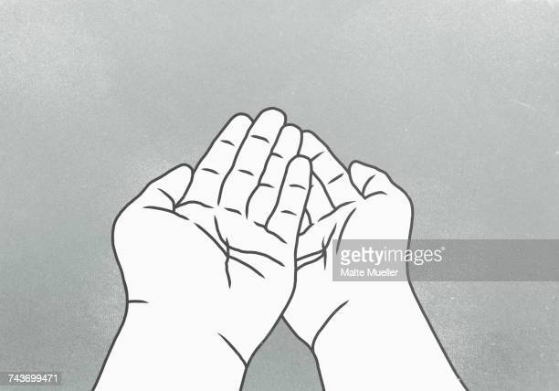 cropped image of hands against gray background - receiving stock illustrations