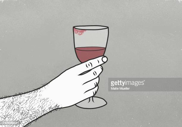 cropped image of man holding wineglass with lipstick kiss against gray background - wine stock illustrations