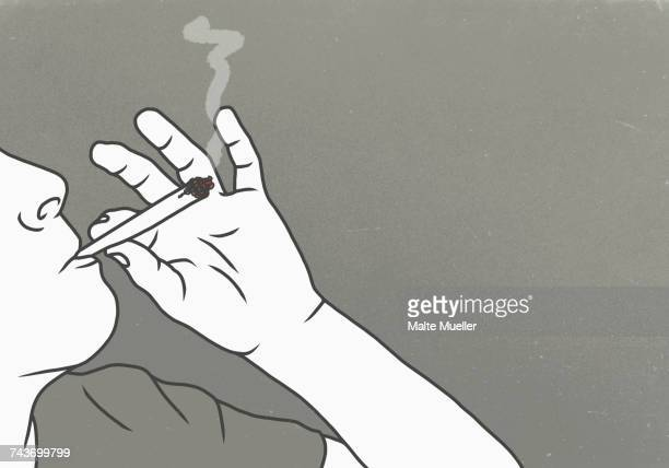 ilustrações, clipart, desenhos animados e ícones de cropped image of man smoking marijuana against gray background - droga recreativa