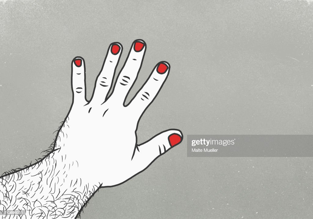 Cropped image of man with red nail polish on finger against gray background : ストックイラストレーション