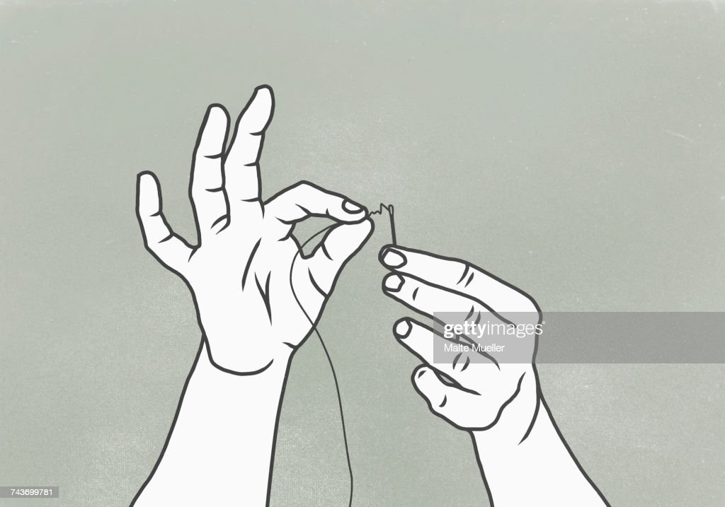 Cropped image of woman threading needle against gray background : stock illustration