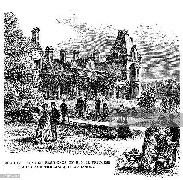 croquet on a victorian lawn - sunday best stock illustrations, clip art, cartoons, & icons