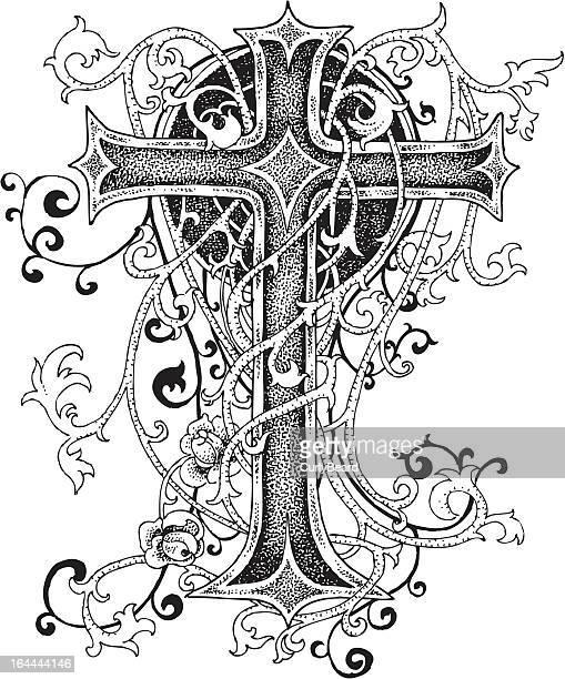 bildbanksillustrationer, clip art samt tecknat material och ikoner med cross ornament design - taggig buske